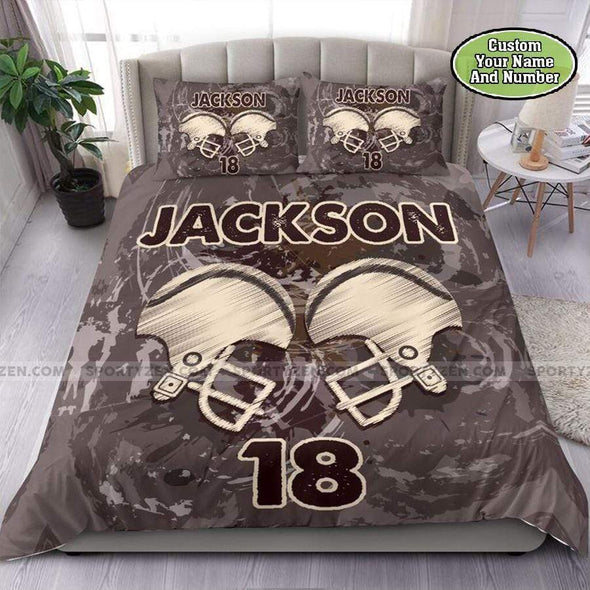 Hockey Helmets Vintage Personalized Duvet Cover Bedding Set with Your Name #1808DH