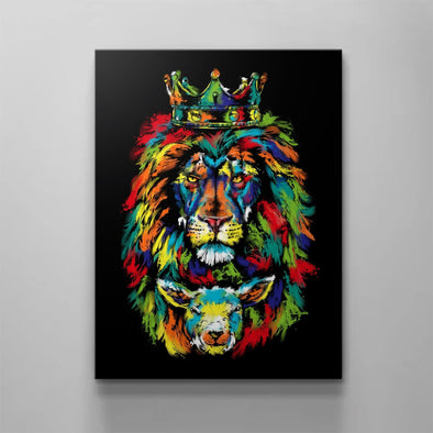 Lion And Lamb Watercolor Canvas Prints