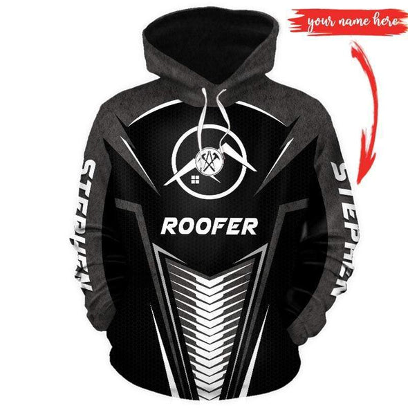 Custom name B&W roofer Hoodie 3D All Over Print