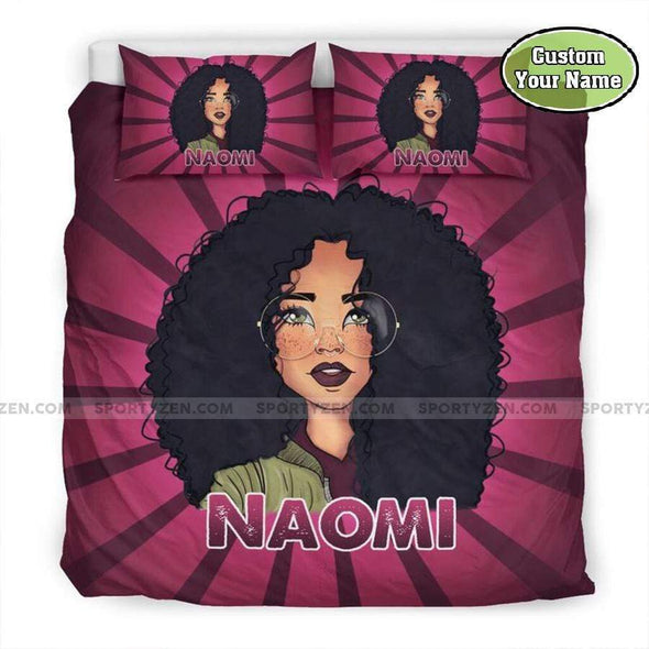 Black Glasses Girl Purple Personalized Name Duvet Cover Bedding Set #1208DH