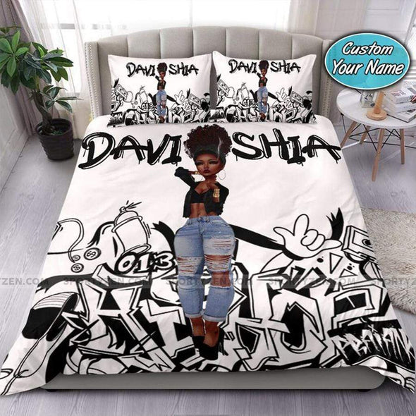 Black Girl Sassy Body Grafity Personalized Name Duvet Cover Bedding Set #2907DH
