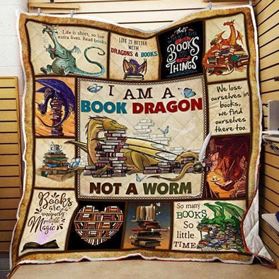 I Am A Book Dragon not a worm Quilt Blanket #V
