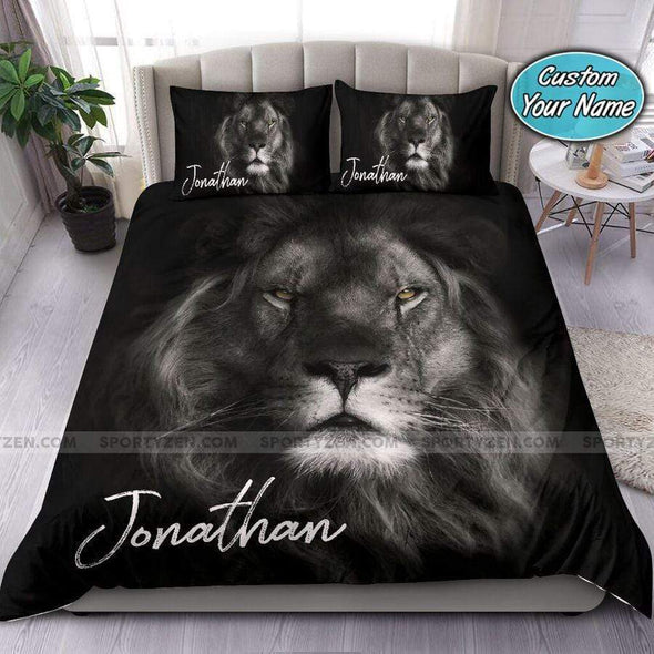 Personalized Lion Black Background Personalized Name Duvet Cover Bedding Set #1607DH