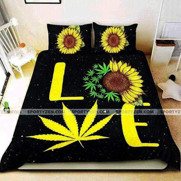 Love Sunflower and Weed Duvet Cover Bedding Set #0506l