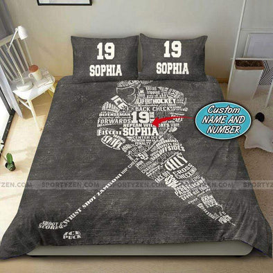 Hockey Player Personalized Duvet Cover Bedding Set with Your Name #0708v