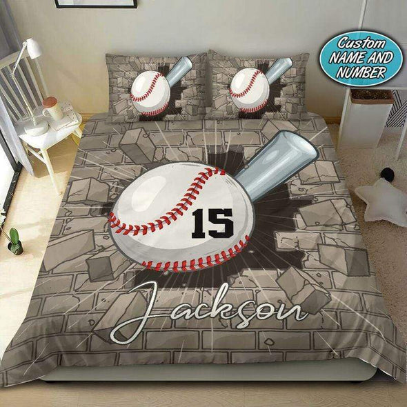Baseball Breaking Wall Personalized Duvet Cover Bedding Set with Name #710V