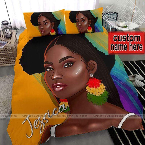Personalized Black Girl African Personalized Name Duvet Cover Bedding Set #2506V