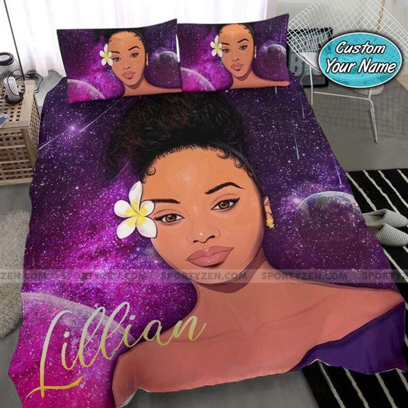 Black Girl Flower Galaxy Personalized name Duvet Cover Bedding Set #97