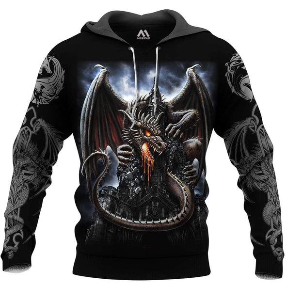 Scary Dragon With Cattle Hoodie 3D All Over Print