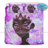 Black Girl Purple Afro Hairstyle Personalized Name  Duvet Cover Bedding Set #217DH