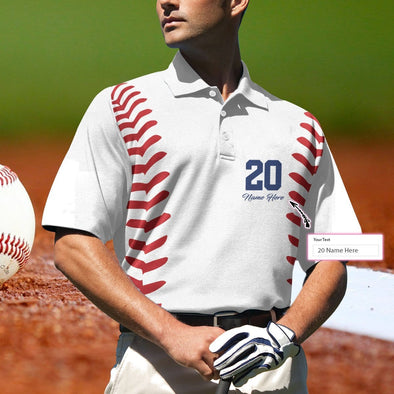 Personalized Name And Number Baseball Player Polo Shirt