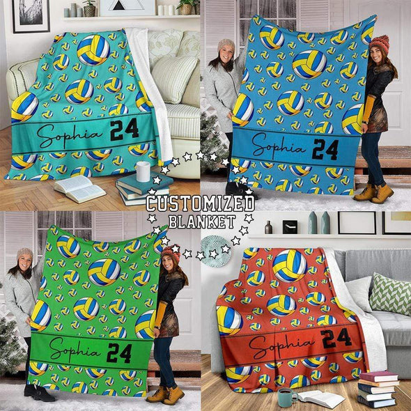 Personalized Volleyball Balls Pattern Fleece Blanket Custom Name and Number