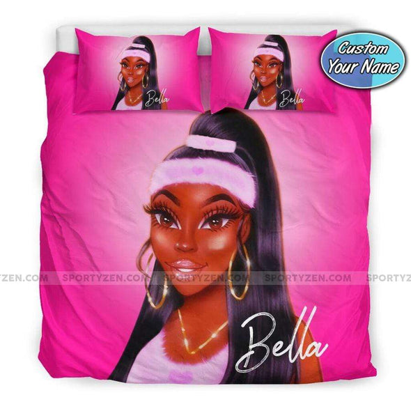 Black Sport Girl Bedding Personalized Name Duvet Cover Bedding Set #1707DH