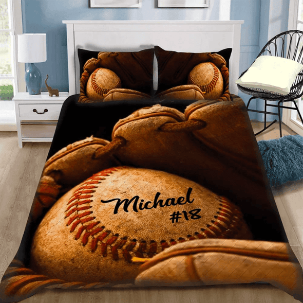 Vintage Baseball Glove and Ball Personalized Duvet Cover Bedding Set with Your Name