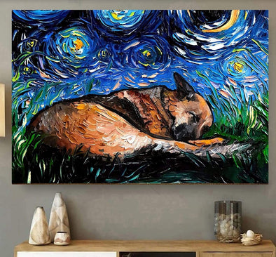 Sleeping German Shepherd In Starry Night Canvas Prints