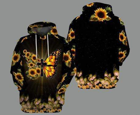 Cross Butterfly Sunflower Black Hoodie 3D All Over Print