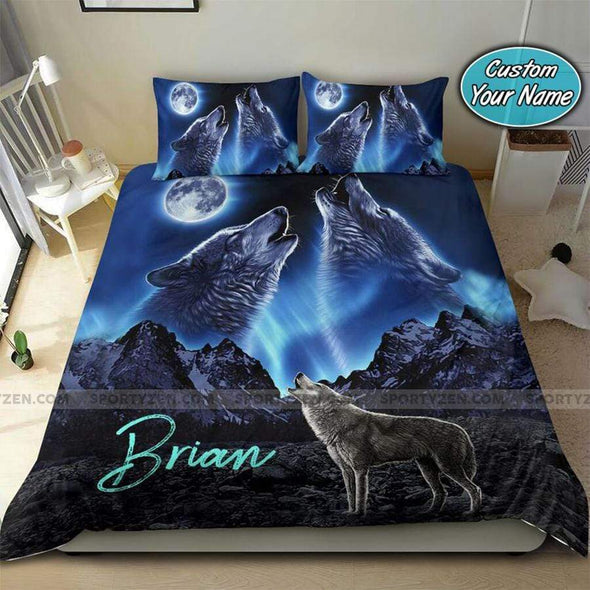 Wolf Howling At The Moon Couple Ying Yang Personalized Duvet Cover Bedding Set with Your Name #3107DH