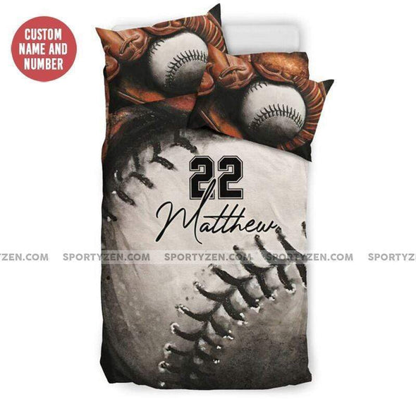 Sportyzen Bedding Set Baseball Glove Ball Custom Duvet Cover Bedding Set with Your Name And Number #1105H
