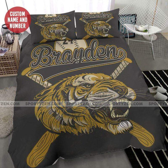 Sportyzen Bedding Set Baseball Lion Symbol Custom Duvet Cover Bedding Set With Name And Number #2304H