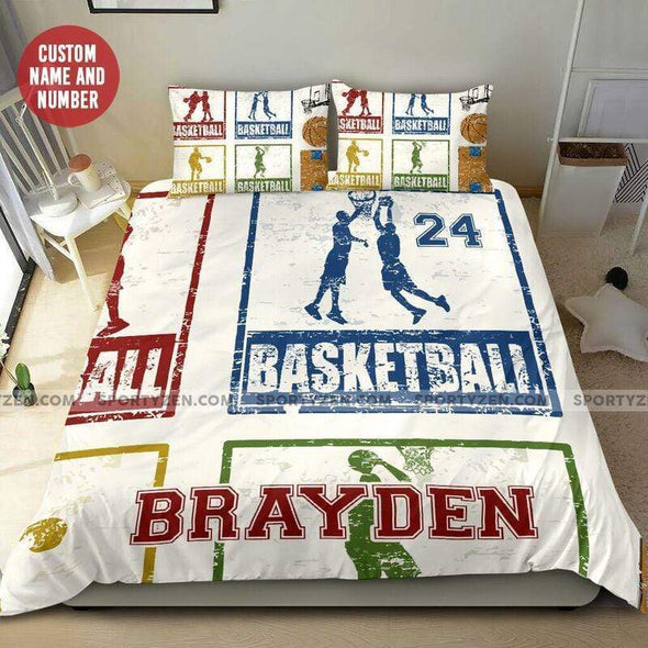 Sportyzen Bedding Set Basketball Colorful Custom Duvet Cover Bedding Set with Your Name And Number #1505H