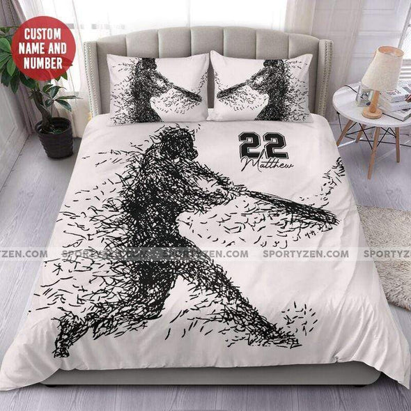 Sportyzen Bedding Set Black White Baseball Custom Duvet Cover Bedding Set with Your Name And Number #1205H