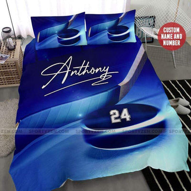 Sportyzen Bedding Set Blue Hockey Stick and Puck Custom Duvet Cover Bedding Set with Your Name #265h