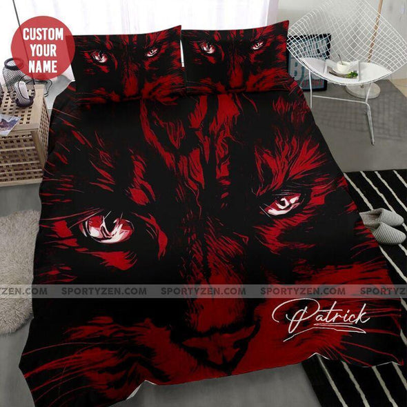 Sportyzen Bedding Set Cat Red Custom Duvet Cover Bedding Set with Your Name #2304L