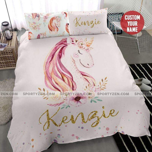 Sportyzen Bedding Set Custom Duvet Cover Personalized Cute Unicorn Bedding Set With Your Name #1905L