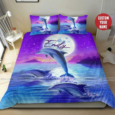 Sportyzen Bedding Set Dolphin with the Moon Custom Duvet Cover Bedding Set with Name #265h