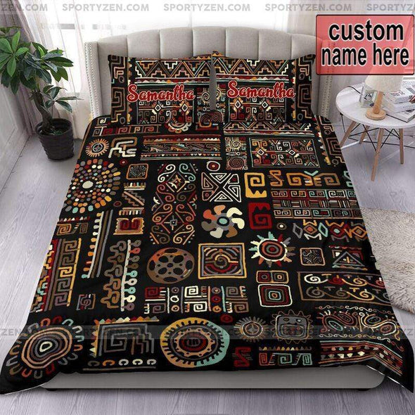 Sportyzen Bedding Set Ethnic handmade ornament African Pattern Custom Duvet Cover Bedding Set with Name #1305v