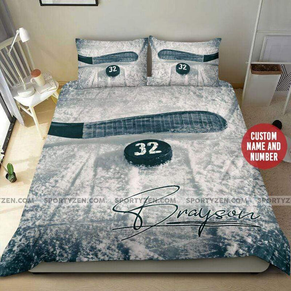 Sportyzen Bedding Set Hockey STick Custom Duvet Cover Bedding Set with Your Name and Nmmber #2305L