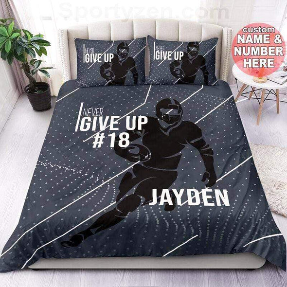 Never give up Personalized Football Duvet Cover Bedding Set with Your Name #1703v