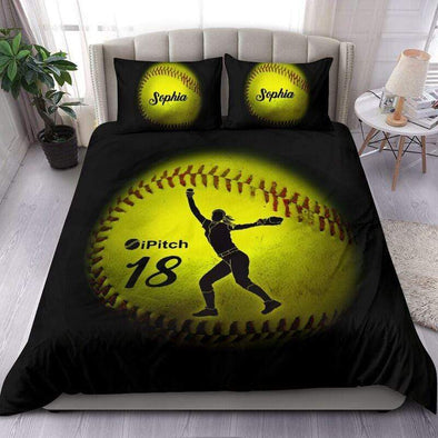 Sportyzen Bedding Set Pitch-Hit-Catch Softball Custom Duvet Cover Bedding Set with Your Name #103v