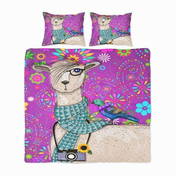 Sportyzen Bedding Set Purple Llama Custom Duvet Cover Bedding Set with Name #V