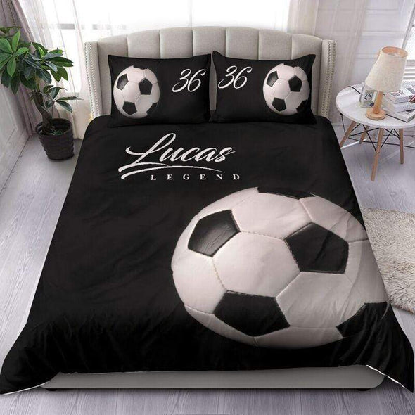 Sportyzen Bedding Set Soccer Ball Custom Duvet Cover Bedding Set with Your Name #0403h