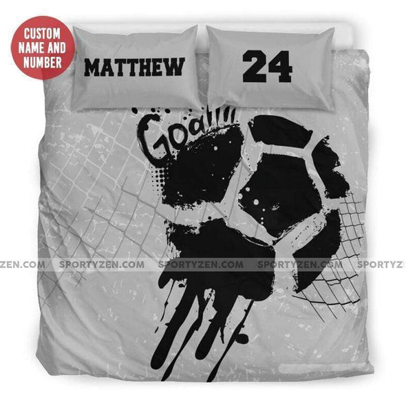 Sportyzen Bedding Set Soccer Goal Custom Duvet Cover Bedding Set with Your Name And Numer #905H
