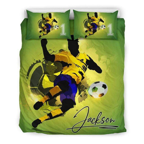 Sportyzen Bedding Set Soccer Player Custom Duvet Cover Bedding Set with Your Name And Number #605L