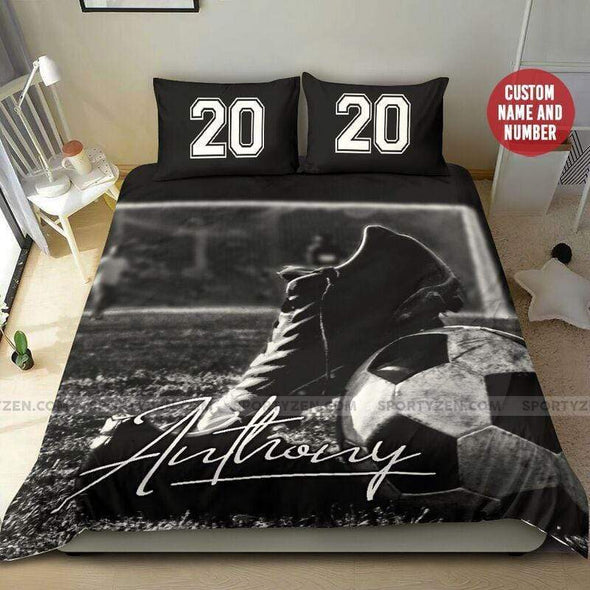 Sportyzen Bedding Set Soccer Shoe Ball Custom Duvet Cover Bedding Set with Your Name And Number #2205H