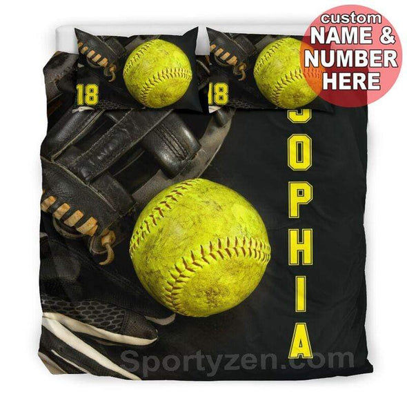 Sportyzen Bedding Set Softball Stuff Custom Duvet Cover Bedding Set with Your Name #103v