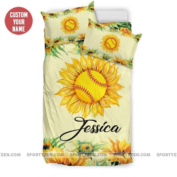 Sportyzen Bedding Set Sunflower Softball Custom Duvet Cover Bedding Set with Your Name #174h