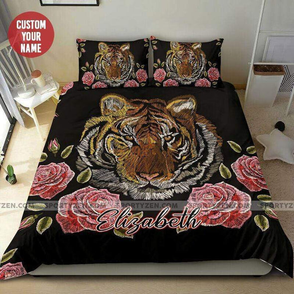 Sportyzen Bedding Set Tiger Flowers Custom Duvet Cover Bedding Set with Names #605L