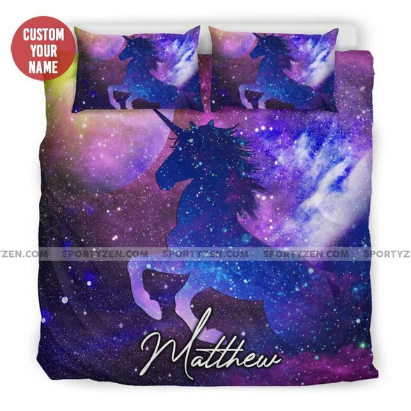 Sportyzen Bedding Set Unicorn Purple Galaxy Custom Duvet Cover Bedding Set With Your Name #905H