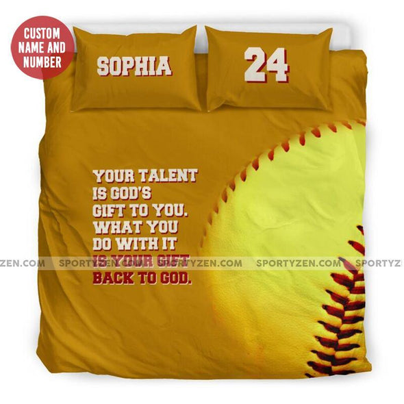 Sportyzen Bedding Set US California King Back To God Softball Custom Duvet Cover Bedding Set with Your Name and Number #905H