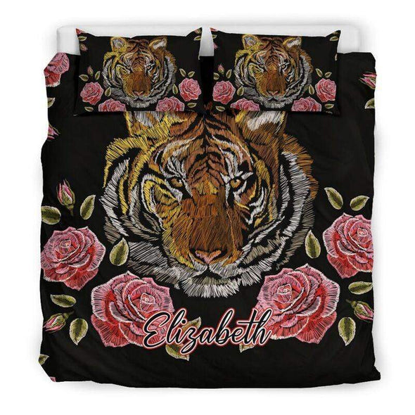 Sportyzen Bedding Set US California King Tiger Flowers Custom Duvet Cover Bedding Set with Names #605L