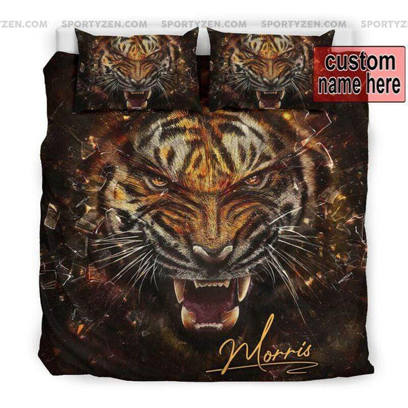 Sportyzen Bedding Set US California King Tiger Roar Custom Duvet Cover Bedding Set with Names #405V