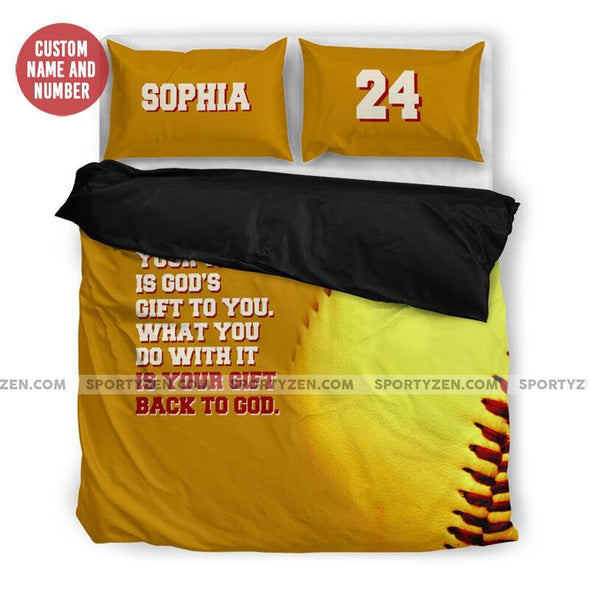 Sportyzen Bedding Set US King Back To God Softball Custom Duvet Cover Bedding Set with Your Name and Number #905H
