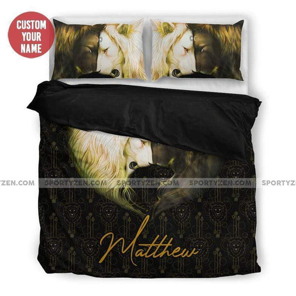 Sportyzen Bedding Set US King Lion Couple Custom Duvet Cover Bedding Set With Name #705H