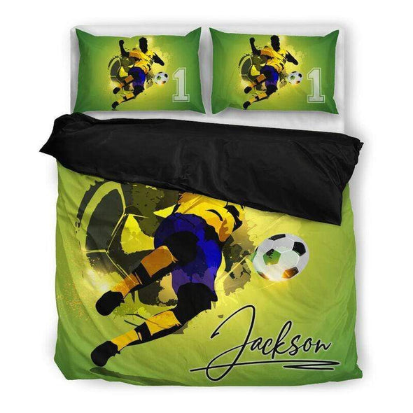 Sportyzen Bedding Set US King Soccer Player Custom Duvet Cover Bedding Set with Your Name And Number #605L