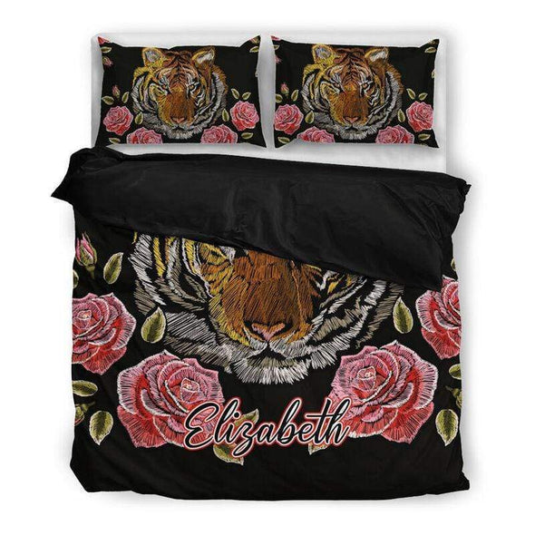 Sportyzen Bedding Set US King Tiger Flowers Custom Duvet Cover Bedding Set with Names #605L