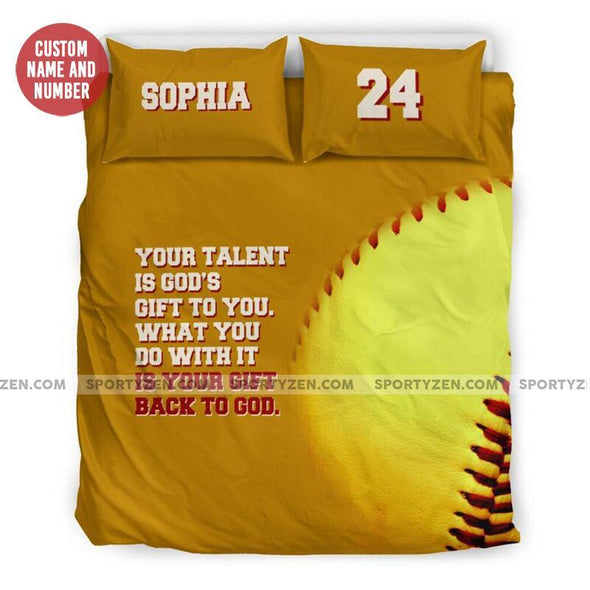 Sportyzen Bedding Set US Queen/Full Back To God Softball Custom Duvet Cover Bedding Set with Your Name and Number #905H